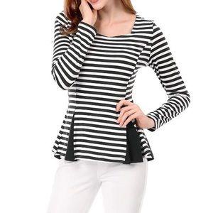 Striped Long Sleeve Peplum Top